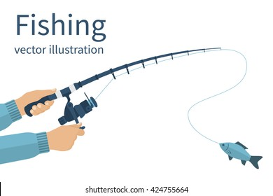 Fishing concept, banner, poster. Vector illustrations flat design. Fisherman holding in hands fishing rod with reel, spinning rods with a catch.