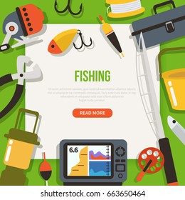 Fishing concept design template for web banners, infographics.  Flat style vector illustration.