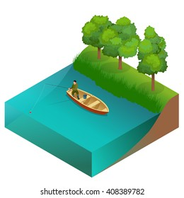 Fishing concept. Man fishing on a lake from the boat. Fisherman with rod. Flat 3d vector isometric illustration.