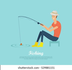 Fishing conceptual vector banner. Flat design. Smiling man in hat and gumboots sitting with fishing rod in hand on the river. Recreation near the water. For fishing hobby club, tourist company ad