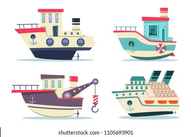 Fishing and cruise boats set. Vector cartoon flat ships side view isolated on white background.