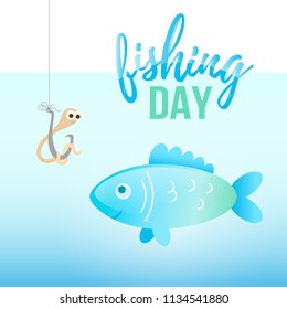 Fishing day illustration with cartoon fish and worm on hook under water. Kid education, fishing banner and poster