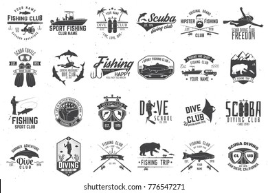 Fishing and diving club with design elements. Vector illustration. Concept for shirt or logo, print, stamp or tee. Vintage typography design with fish rod silhouette.