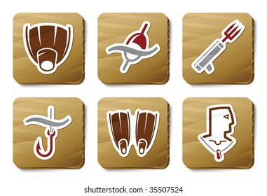 Fishing and Diving icons. Vector icon set. Three color icons on cardboard tags.