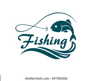 fishing emblem with fish, waves and hook