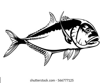 Fishing emblem isolated on white. Bone fish logo in black color. Ocean theme background