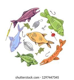 Fishing equipment and fish, hand drawn lettering, carp, roach, perch, salmon, sturgeon, tuna, ruffe, sheatfish, pike, bream logo. Vector illustration