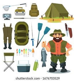 Fishing equipment for fisherman vector illustration set. Cartoon happy man character with catch fish, summer outdoor camp gear, box for fisher item, boat, camping flat element icons isolated on white