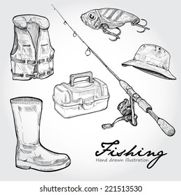 Fishing equipment, icon set. Hand drawn Vector
