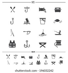 fishing and equipment for fishing icons.vector eps10