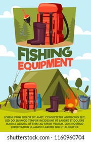 Fishing equipment poster of fisherman camping and tackles items. Vector cartoon design of tent, rubber wader boots or bowler with thermos and fish rod or haversack with baits and floats