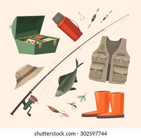 Fishing equipment. Vector illustration.
