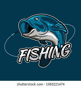 Fishing esport style badge logo design. Fish jumping for bait hook with typography text for fishing tournament event and fisherman club.