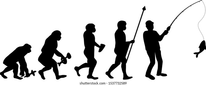 Fishing evolution funny silhouette vector file. Fisherman with fishing rod illustration.