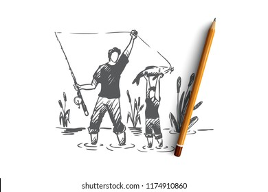 Fishing, father, son, family concept. Hand drawn dad and his son fishing together concept sketch. Isolated vector illustration.