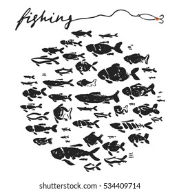 Fishing fish hand drawing ink paint brushing collection.