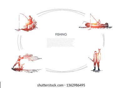 Fishing - fisherman casting net, fishing rod, catching fish, sitting on boat vector concept set. Hand drawn sketch isolated illustration