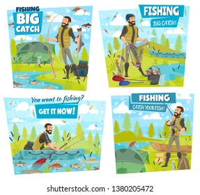 Fishing, fisherman equipment and lake or river fish catch. Vector fisher with rod in rubber boat, tackles and lures for carp, perch or pike and trout fishing, outdoor camping sport and adventure