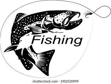 Fishing. Fisherman and trout.Fishing logo.Fishing theme vector illustration. Isolated on white