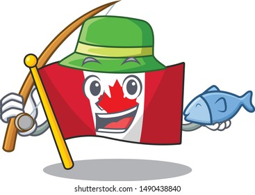 Fishing flag canadian is stored cartoon cupboard