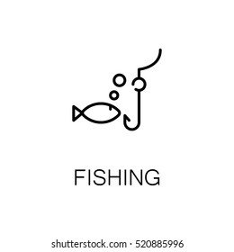 Fishing flat icon. Single high quality outline symbol of outdoor activity for web design or mobile app. Thin line signs of fish for design logo, visit card, etc. Outline pictogram of fishing