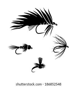 fishing flies vector silhouette