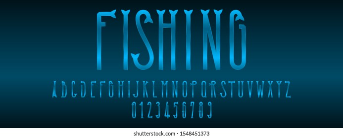 Fishing font and numbers design.