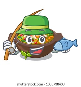 Fishing fried minestrone in the cup character