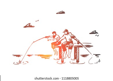 Fishing, friends, two, vacation concept. Hand drawn two friends fishing on river bank concept sketch. Isolated vector illustration.