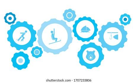 Fishing gear blue icon set
