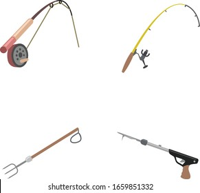 Fishing gear color vector icons