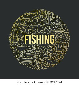 Fishing gear with gold gradient. Different fishing equipment arranged in a circle. Fishing shop design element made in vector.