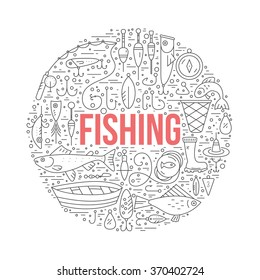 Fishing gear made in modern line style vector. Different fishing equipment arranged in a circle. Fishing shop design element made in vector.
