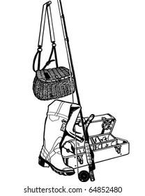 Fishing Gear - Retro Clipart Illustration