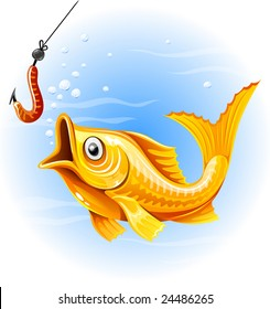 fishing the gold fish hunting worm - vector illustration