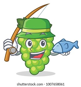 Fishing green grapes mascot cartoon