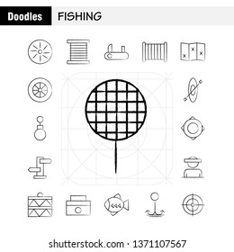 Fishing Hand Drawn Icon Pack For Designers And Developers. Icons Of Wheel, Gear, Circle, Reel, Fish, Fishing, Fishing Reel, Vector
