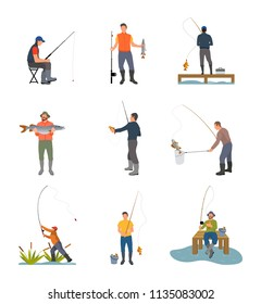 Fishing hobby activity. Catching fish by lake on wooden pier. Spinning hold by men sitting on stool, fishery sport set isolated on vector illustration