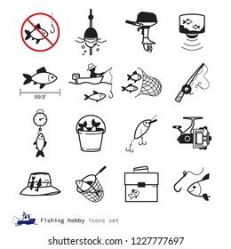 Fishing hobby icons set