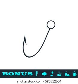 Fishing hook icon flat. Black pictogram on white background. Vector illustration symbol and bonus button