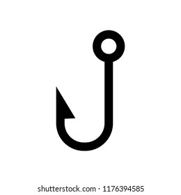 Fishing hook. Simple icon. Black on white background