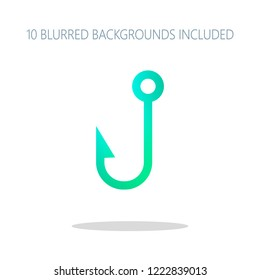 Fishing hook. Simple icon. Colorful logo concept with simple shadow on white. 10 different blurred backgrounds included