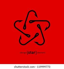 Fishing Hook star vector illustration. Marine company Logotype template