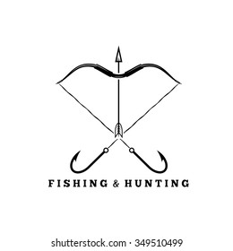 fishing and hunting concept with hooks and bow