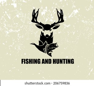 fishing and hunting illustration