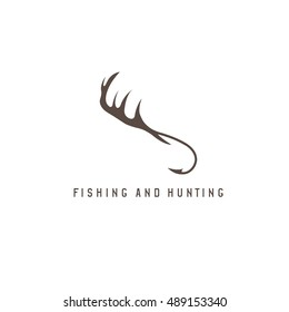 fishing and hunting illustration with deer horns and  hooks