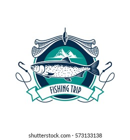 Fishing icon. Fishery industry or fisher trip sport club vector sign with humpback salmon, trout cod or sturgeon fish, fishing rod with hook, net and fisherman ship boat vessel in sea