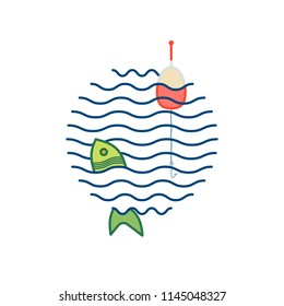 Fishing Icon With Float, Fishhook on the Line and Fish on the Background of Waves. Vector, Illustration