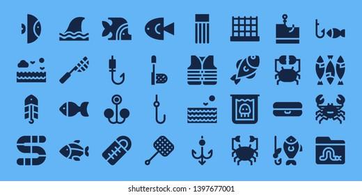 fishing icon set. 32 filled fishing icons. on blue background style Collection Of - Fish, Sea, Bait, Worm, Shark, Net, Fishing rod, Sleeping bag, Hook, Float, Lifejacket, Creature