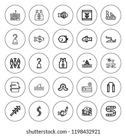 Fishing icon set. collection of 25 outline fishing icons with camping, fish, hook, hooks, fishing, lifejacket, harpoon, jackknife, nunchaku, sea, shark icons. editable icons.